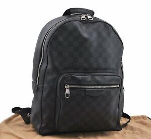 Authentic Louis Vuitton Damier Graphite Josh Backpack N41473 LV D9639