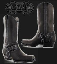 LOBLAN 2614 Boots Cowboy Biker Western Motorcycle Matte Black Leather 10.5 / 45