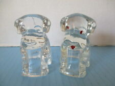2 ANTIQUE GLASS CANDY CONTAINERS, SEATED PUPPY DOGS, CLEAR GLASS