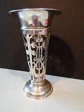 Antique Art Nouveau Vase percé corps Argent Massif BIRMINGHAM 1902 W J MYATT & CO