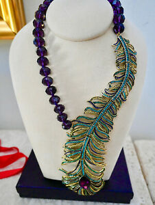 """New $580 HEIDI DAUS """"Pretty as a Peacock"""" Crystal Long Feather Necklace Amethyst"""