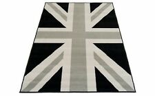 Black Grey Union Jack Flag Print Modern Rug Retro Style Rug 80x150 cms