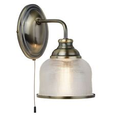 Searchlight 2671-1ab BISTRO II Antique Brass Finish Halophane Glass Wall Light