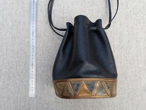 Small vintage black leather drawstring bag with gold triangle detail