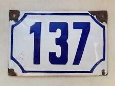 Genuine vintage ISRAELI  enamel porcelain number 137 house sign # 137
