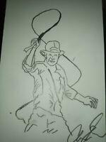 Indiana Jones 4x6 Sketch By Actor Aaron Lee Johnson signed. Benefits charity.