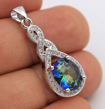 18K White Gold Filled - Oval MYSTICAL Topaz Waterdrop Cocktail Pendant 8 Color