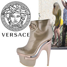 New VERSACE TRIPLE PLATFORM ROSE GOLD LEATHER BOOTIE BOOTS 41 - 11
