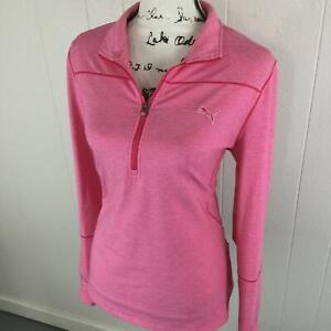 PUMA 1/4 Zip Mock Neck Long Sleeve Pink Activewear Golf Jacket Women's Size XL