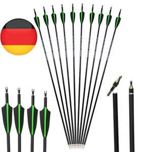 12X Carbonpfeile 30Zoll Bogenpfeile Jagd Spine 500 Recurvebogen Compoundbogen DE