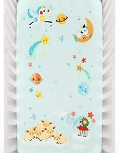 Baby Fitted Bed Sheet Rookie Humans Cotton Sateen Lil' Lamb's Dream Planets Star