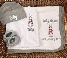 Personalised Disney Peter Rabbit Sleepsuit/Babygrow, Hat, Booties, Blanket