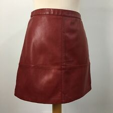 New Look Leather Look Pleather Maroon A-Line Mini Skirt Size 8