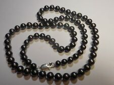 """South Sea Salt Water Peacock Black 7mm Pearl 17 1/4"""" Necklace Knotted Sterling"""