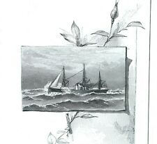 1879 Lovely Engraved Steamer Steamship High Seas Scene, Lowell & Co., Card #G