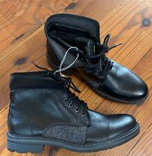 Robert Wayne Jef Black Leather Ankle Boots Lace Up Men's Sz 9 NEW