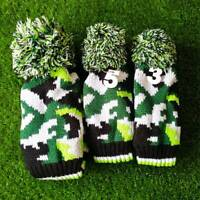 3pcs Green Golf Club Driver Fairway Wood FW Knitted Pom Pom Head Cover for Ping