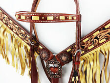 WESTERN HORSE RODEO BUCKSTITCH FRINGE LEATHER HEADSTALL BRIDLE BREASTCOLLAR TACK