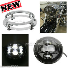 "7"" Silver LED Headlight W/ Nacelle kit Mounting Ring for Harley Softail 91-13"