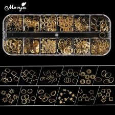 12 Grid Nail Art Star Heart Round Gold Metal rivet Studs 3D Charm Decoration