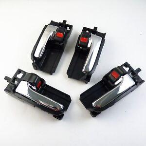 4 X Inside Door Handles Set Front  Rear  Left  Right Black w/ Chrome 69205-02090