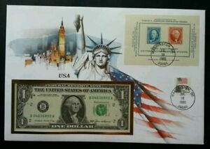 [SJ] USA 100th Anniversary United States Postage Stamp 1985 FDC (banknote cover