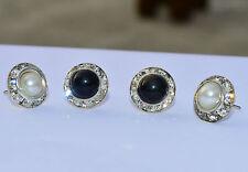 RF COMBO(BLACK+WHITE) Simulated Pearl  Round Crystal Stud Earrings Top Earrings