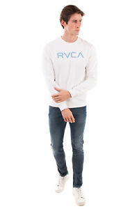 RVCA Sweatshirt Size S Printed Logo Front Long Sleeve Crew Neck Made in Portugal