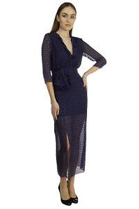 RRP€370 SALONI Overlay Dress Size UK 14 / L Silk Blend Flock Tulle Ruffle V Neck
