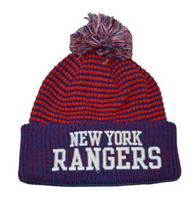 New York Rangers NHL Team Wordmark Knit Beanie Pom Pom Winter Hat by Fanatics