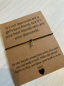 ⭐️ Friends Are Diamonds Quote Wish Friendship Bracelet Star Charm Present Gift⭐️
