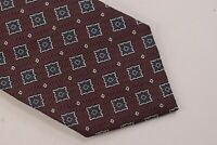 Ermenegildo Zegna NWT Neck Tie In Burgundy With Blue Squares 100% Silk