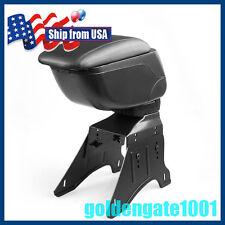 US Black Leather Center Console Armest Box w/ Adjustable Base Bracket Universal