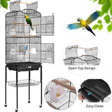 59.8' Open Top Bird Cage With Rolling Stand Parrots Bubgies Lovebird Cockatiel