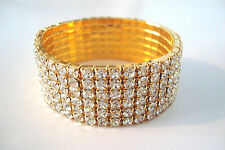 6 Row Small Stretchy Clear Diamante Gold Tone Bracelet Rhinestone *Pls Chk Size