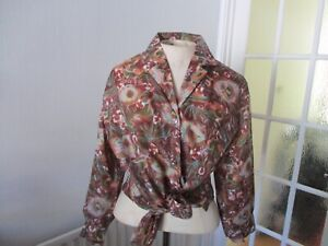 VTG 50s 60s TERGAL BROWN MULTICOLOUR FLOWER FLORAL SHIRT BLOUSE 16 XL ROCKABILLY