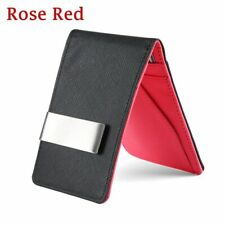 Leather Stainless Steel Money Clip Purse Slim Wallets ID Credit Card Holder