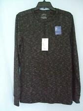 NEW APT 9  MENS MINERAL BLACK HEATHER LONG SLEEVE HENLEY KNIT TOP $30