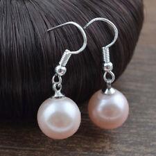 Pretty New Silver Fashion Jewelry Peach Blush Pink Pearl Dangle Drop Earrings