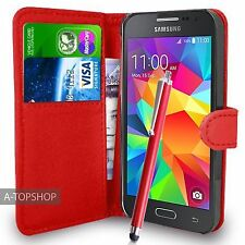Red Wallet Case PU Leather Book Cover For Samsung Galaxy Core Prime G360 G361