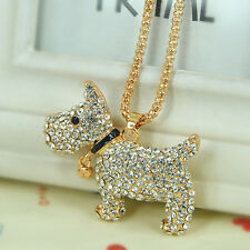 Bell Dog Sweater Bead Necklace Rhinestone Crystal Pendant Chain Valentine Gift
