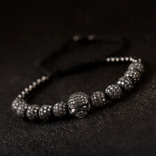 2019 Luxury Black Brass Ball Zircon Skull Adjustable Handmade Knot Bracelets