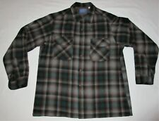 Pendleton Wool Shirt Button Front Green Brown Plaid Men's Large Made in USA