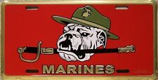 Aluminum Military License Plate U S Marine Corps Bulldog and Sword NEW Made USA