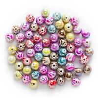 50 Pcs Mixed Multicolor Acrylic Stripe Pattern Spacer Beads Jewelry Making 10mm