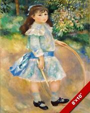 RENOIR'S GIRL IN DRESS WITH STICK & HOOP GAME PAINTING ART REAL CANVAS PRINT
