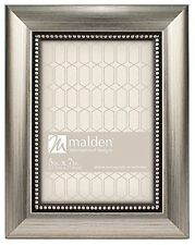 Malden International Designs Champagne Beaded Pewter Picture Frame, 5 by 7-Inch,