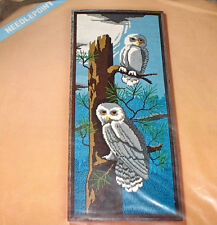 "1976 LeeWards ""Owls"" Trees in Forest Needlepoint Kit 10x24"""