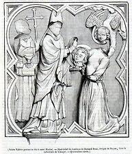 Antique print Limoges St Valerie presenting head St Martial 1842 Bernard Brun