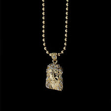 "ICED OUT 14K GOLD FINISH MICRO MINI JESUS FACE PIECE PENDANT & 30"" BEAD CHAIN"